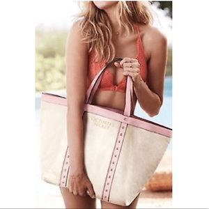 VS Pink Faux Leather Studded Large Canvas Tote